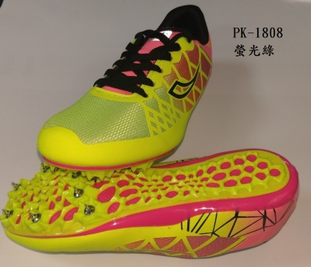 【線上體育】孔雀牌 PK-1808 螢光綠 田徑釘鞋 路跑釘鞋 1雙