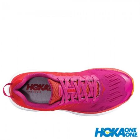 【線上體育】 HOKA ONE ONE女 Clifton 6 寬楦 超緩震跑鞋 罌粟紅/仙人掌花紫, 7號