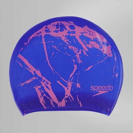 SPEEDO 成人長髮用矽膠泳帽 Long Hair 紫-印花 -SD811306B709