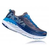 【線上體育】HOKA ONE ONE男 BONDI 5 WIDE 路跑鞋 炭灰/純藍, 10.5