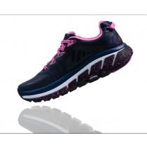 【線上體育】HOKA ONE ONE女 Gaviota Wide路跑鞋 中世紀藍/桃紅8 送運動帽