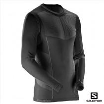 【線上體育】SALOMON男 PRIMO 保暖內層T恤 黑, L