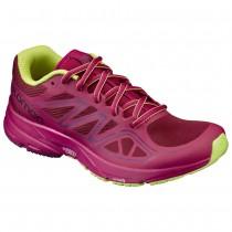 【線上體育】SALOMON女 SONIC AERO 跑鞋 藏紅/ 桑格莉亞紅/ 萊姆綠, 7.5