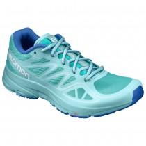 【線上體育】SALOMON女 SONIC AERO 跑鞋 陶瓷綠/ 阿魯巴藍/ 航海藍, 5.5