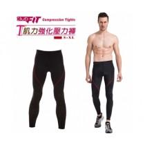 【線上體育】clubfit男-肌力強化九分壓力褲-紅色縫線 M 送搖擺鈴
