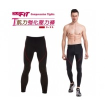 【線上體育】clubfit男-肌力強化九分壓力褲-紅色縫線 L 送搖擺鈴