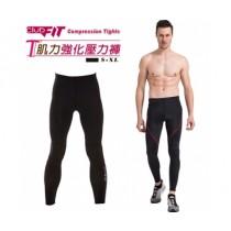 【線上體育】clubfit男-肌力強化九分壓力褲-紅色縫線 XL 送搖擺鈴