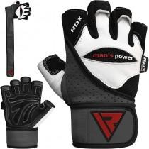 【線上體育】RDX GYM 舉重手套 皮革 白色/黑