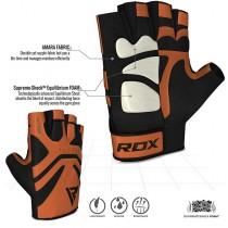 【線上體育】RDX GYM 舉重手套 皮革 S12 棕色