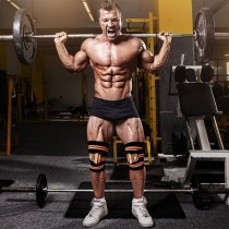 RDX028 【線上體育】RDX 健身 護膝 黑/橘色 NEW