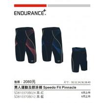 【線上體育】男人運動及膝泳褲 speedo fit pinnacle 黑紅36