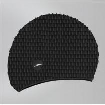 SPEEDO 成人 矽膠泳帽-BUBBLE黑【線上體育】SD8709290001