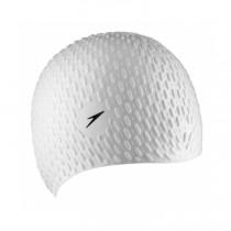 【線上體育】SPEEDO 成人 矽膠泳帽-BUBBLE白  SD8709290003